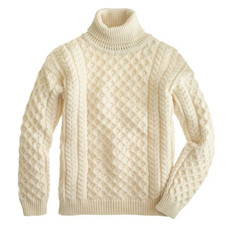 fisherman s sweater aran crafts fisherman cable knit turtleneck sweater j