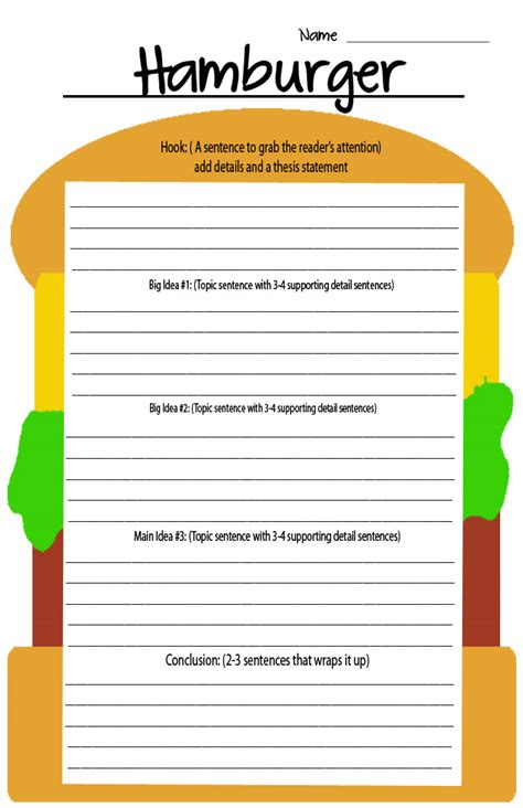 Burger Writing Template by Krazy 4 Writing April 2012
