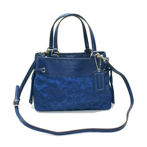 coach signature nylon mini drawstring handbag crossbody bag navy  coach