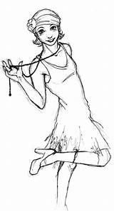 Flapper Drawing Drawings Flappers Painting Lady sketch template