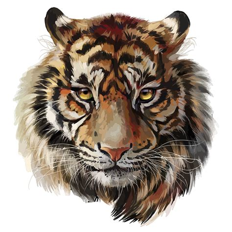 tiger head watercolor painting png image