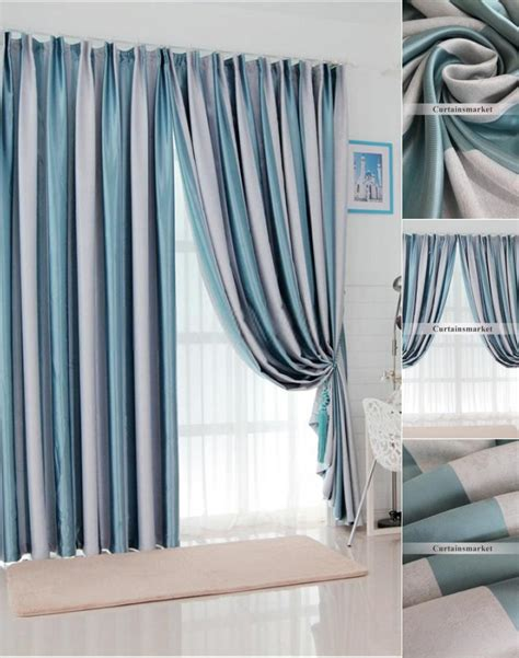 blue striped thermal curtains of mediterranean style