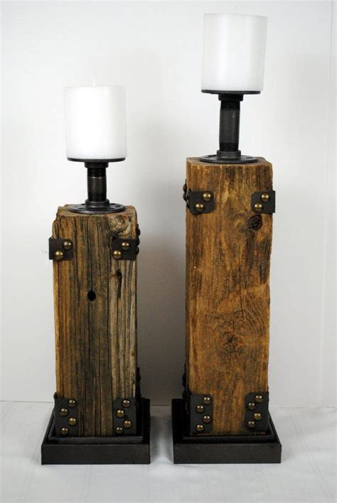 reclaimed wood pillar candle holder products