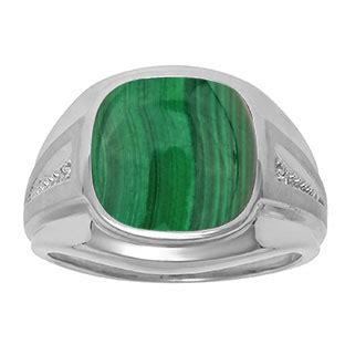 diamond  green malachite mens large ring  sterling