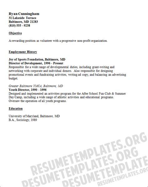 volunteer resume sample resume template  resume
