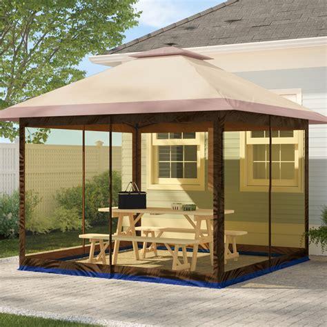 suntime fully enclosed canopy  ft    ft  aluminum pop  gazebo reviews wayfair