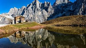 Alps, Cabin, Dolomites, Italy, Lake, Mountain, With, Reflection
