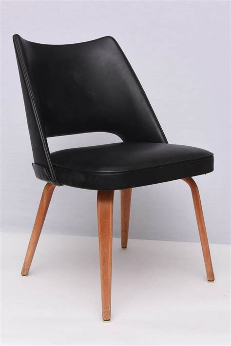 thonet dining chairs in teak and leatherette 1950s
