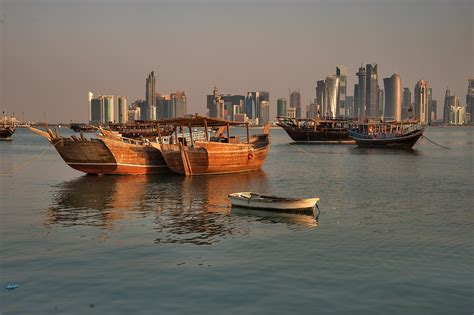 Fishing Boat Qatar by Photo 1496 18 Moored Dhow Fishing Boats View From