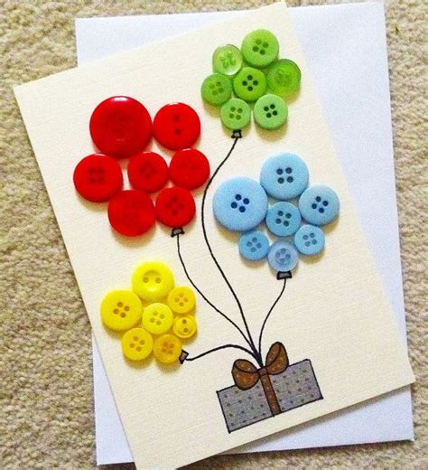 buttons craft ideas handmade happy birthday button balloon card blank you by 1198