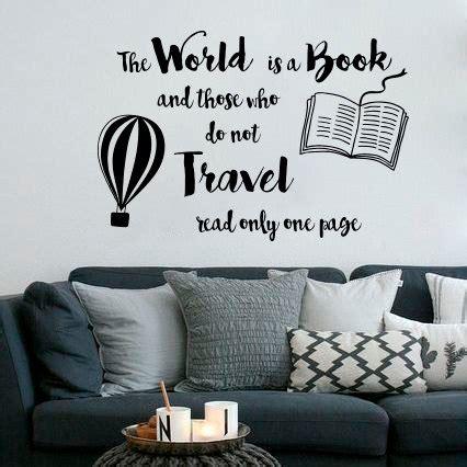 world  book quote wall sticker travel design wall art