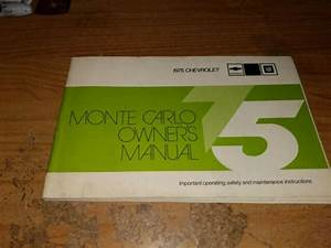 1975 Chevrolet Chevy Monte Carlo Owners Manual Owner U0026 39 S