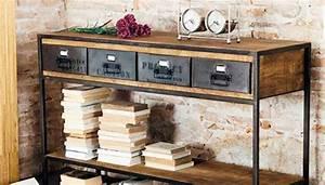 Console Style Industriel : console tiroirs vintage industriel bois pas cher ~ Teatrodelosmanantiales.com Idées de Décoration