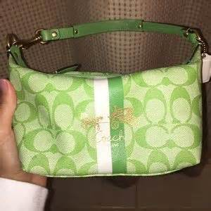 off Coach Handbags Lime green Signature Coach purse