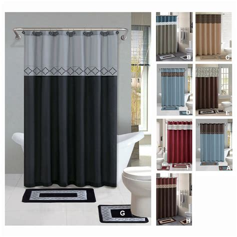 Contemporary Shower Curtain by Contemporary Bath Shower Curtain 15 Pcs Modern Bathroom