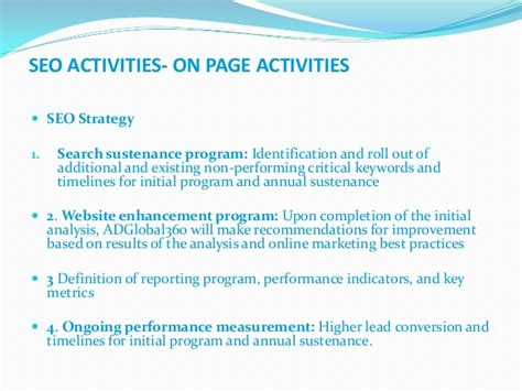 Seo Activities by Seo Activities On Page Page