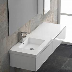 Beautiful meuble simple vasque 140 cm vague ideas for Vasque salle de bain 140 cm