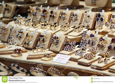 Garnet Jewelry In Store Window Stock Photo  Image 22540242