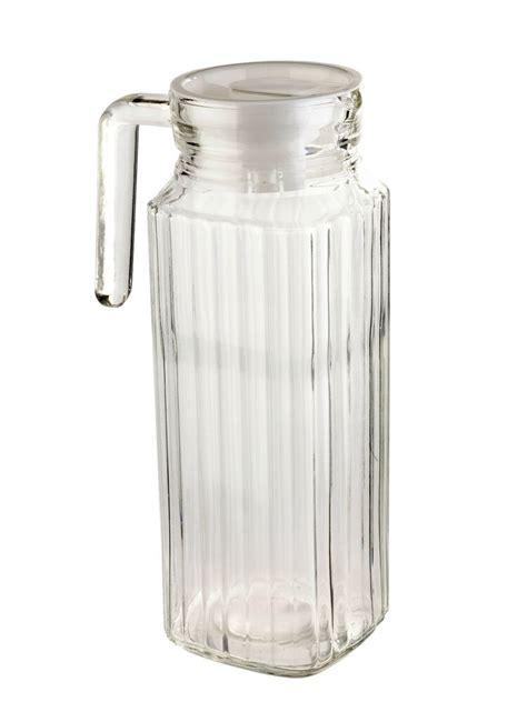 litre square glass jug  lid pitcher juice water