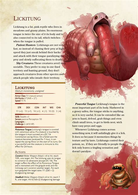 While many play dungeons & dragons to enter a fantasy land of mystery and roleplay, others do it for the level ups, the numbers, and the sweet loot. D&D 5e Homebrew Monster: Lickitung : UnearthedArcana