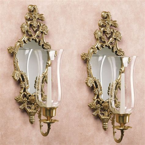 3365 gold wall candle holders athea mirrored brass wall sconce pair