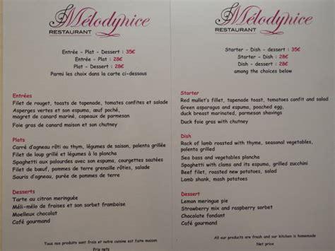 Menu Carte Restaurant Anglais by Choix Menu Carte Francais Et Anglais Picture Of