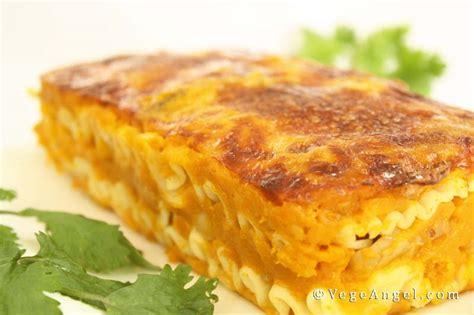 vegetarian recipe pumpkin  mushroom lasagna vege angel