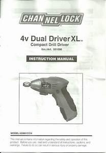 Instruction Manual Channellock 4v Dual Driver Xl Model No