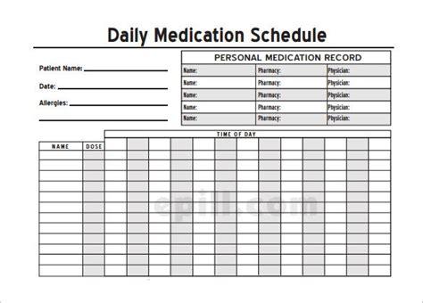 medical schedule template    premium
