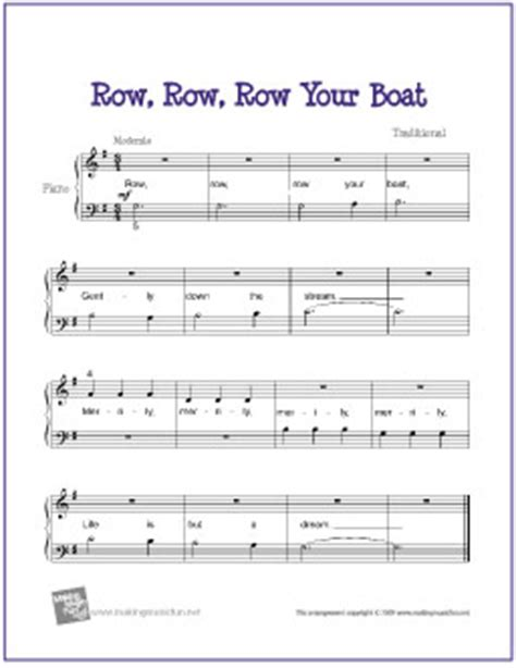 Row Your Boat Bass Tab by Row Row Row Your Boat Free Beginner Piano Sheet