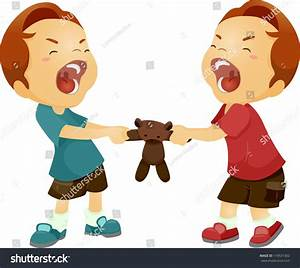 Illustration Twin Boys Fighting Over Stuffed Stock Vector ...