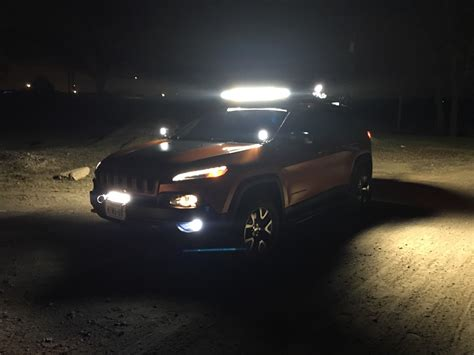 jeep light bar at night len1304 39 s build thread page 18 2014 jeep cherokee forums