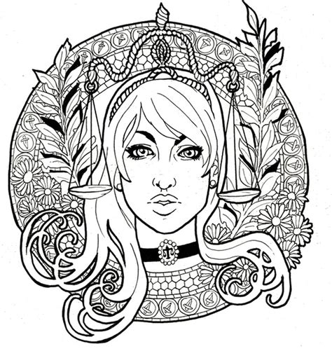 art therapy coloring page astrology libra