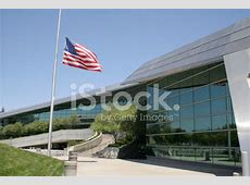 Halfmast US Flag AT Fresno City Hall stock photos