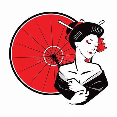 Geisha Modern Exotic Umbrella Japanesse Illustration Wear