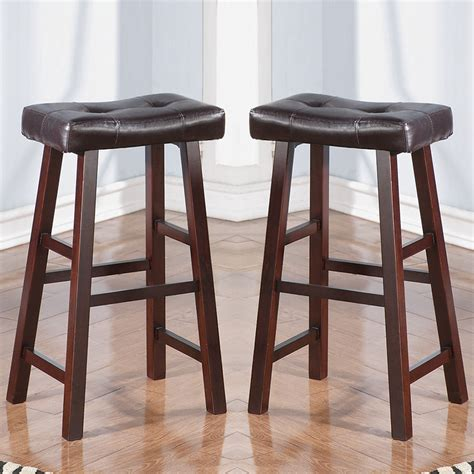 Wood Counter Stools - set of 2 cherry faux leather solid wood 29h saddle