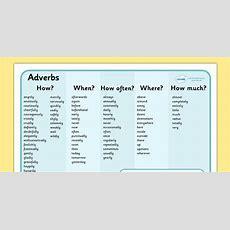 Adverb Word Mat  Verb, Adverb, Describing Word, Mat, Mats, Word Mat, Writing Aid, Ks2, Grammer
