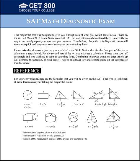Free Sat Math Diagnostic Exam
