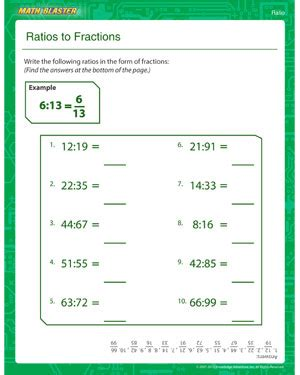 gcf and lcm worksheet ratios to fractions free ratio worksheet math blaster