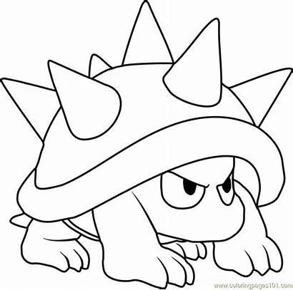 Coloring Pages Galaxy Mario Goomba Super Spiny