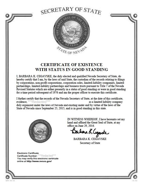 Certificate Of Good Standing by Nevada Certificate Of Good Standing Certificate Of Good