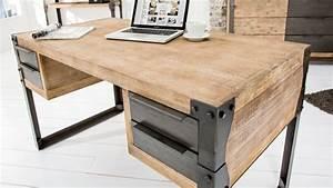 Bureau Bois Et Metal : bureau droit design industriel bois massif et m tal jorg gdegdesign ~ Teatrodelosmanantiales.com Idées de Décoration