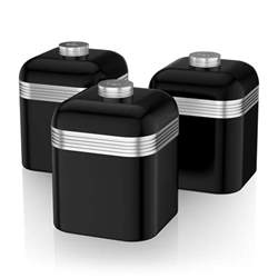 black kitchen canister swan set of 3 tea coffee sugar black canisters jar kitchen storage containers ebay