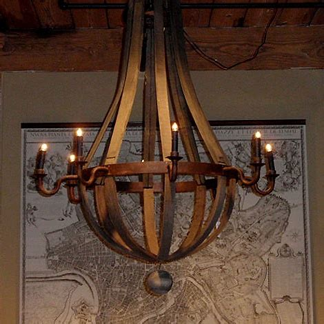 reclaimed wood barrel chandelier design