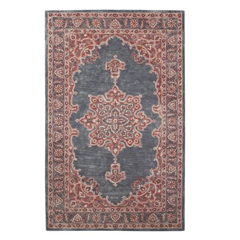 pink rug runner home decorators collection euclid charcoal pink 2 ft x 8