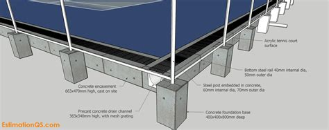 Acrylic Tennis Court_2_Fence post foundation details ...