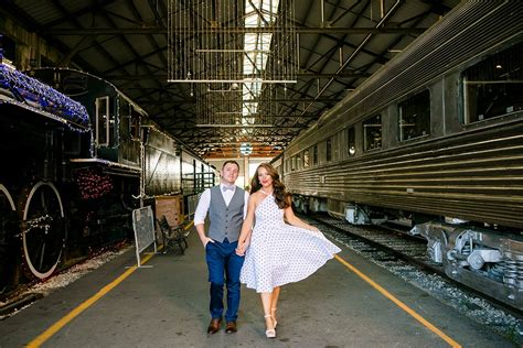 vintage engagement photoshoot gold coast railroad museum