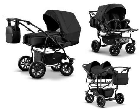 Zwillingswagen Mikado Kinderwagen 3 In 1 Set Wanne Buggy Babyschale Schwarz Kinderwageneldorado