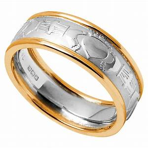 claddagh ring men39s white gold with yellow gold trim With claddagh mens wedding ring