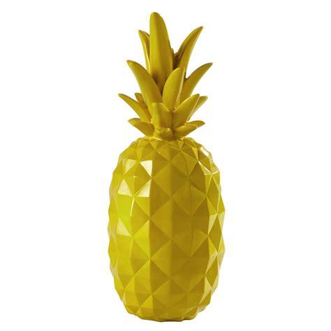 cuisine exotique ananas décoratif en résine jaune h 57 cm janeiro maisons